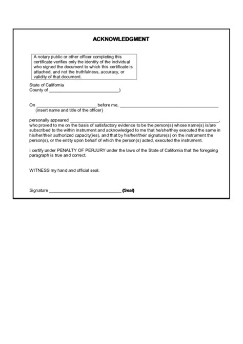 Fillable Acknowledgment Form - State Of California
