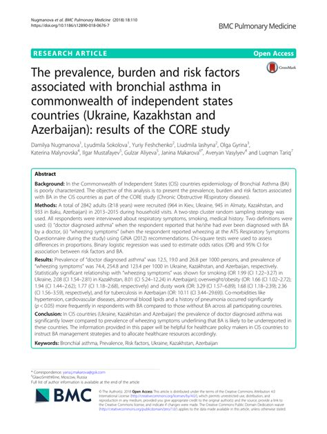 (PDF) The prevalence, burden and risk factors associated