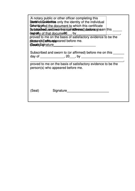 Notary Jurat Form - State Of California printable pdf download