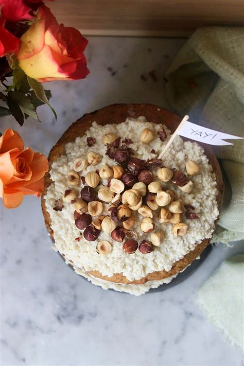 Vegan Carrot Cake with coconut frosting and roasted