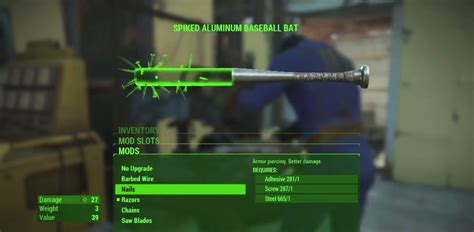 Fallout 4 Weapon Crafting Spiked Aluminum Baesball Bat